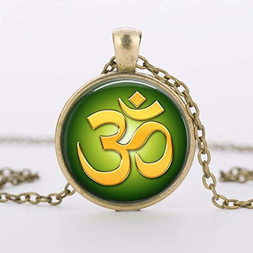 Vintage Halskette Buddhismus Zen Glas Anhänger Om Yoga Blume Muslimische Halsketten Meditation Mandala Kragen Halskette