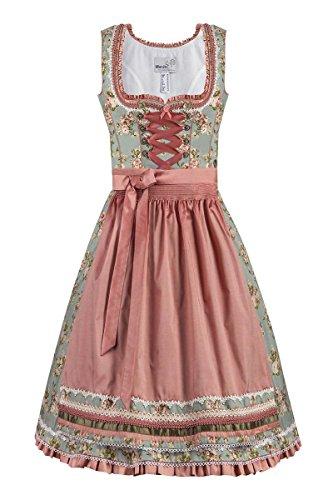 MarJo Moser Trachten Baumwolle Mini Dirndl 55er Türkis-Apricot Taurina 001857, Rocklänge: ca. 55cm, mit Reißverschluss, Größe 32