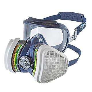 GVS Filter Technology- Lunettes de protection Elipse Integra+ Demi-masque multi-vapeurs et antipoussière ABEK1P3, prêt à l'emploi, petit/moyen, Bleu