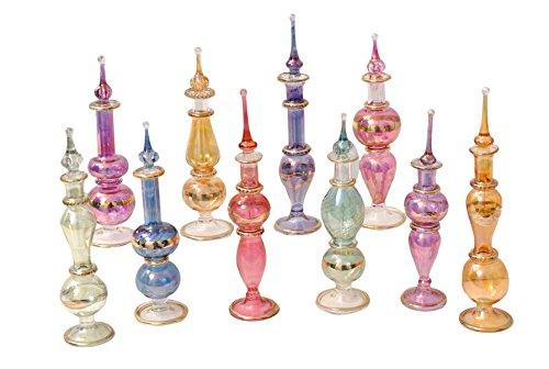 LOT / Set von 10 Mundgeblasen ÄGYPTISCHE Parfümflaschen Pyrex Glas Höhe 4inch (12 cm) P-1 (Alte Parfüm Ägyptische)