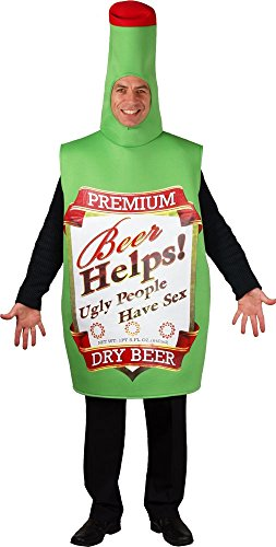 Funny Beer Bottle Adult Costume Stag Fancy Dress One Size (Funny Adult Kostüm)