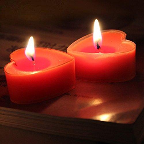 Leisial 9 Stück Herz Teelicht Set Kreative Kerze Romantisches Kerze Rauchfrei Teelicht für Geburtstag,Vorschlag,Hochzeit,Party,Rosa