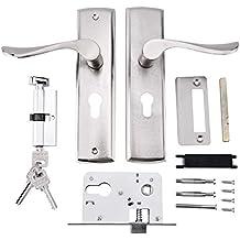 Serrure de la poignée de porte Garniture de la poignée de porte en aluminium Ensemble de serrure Serrure de serrure Rouleau poli Poignées de porte Ensemble de verrou de levier