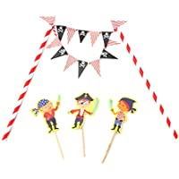 HENGSONG Kreative Motiv Kuchen Dekoration Cake Topper Papier Cupcake Torten Kuchen Topper für Geburtstag Party Weihnachten Deko Set (Pirat)