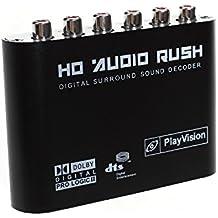 aoeyoo® 5.1Convertidor de Audio Digital Sound Decoder –SPDIF óptico/Dolby AC3DTS Coaxial a 5,1CH Audio analógico (6RCA de salida)