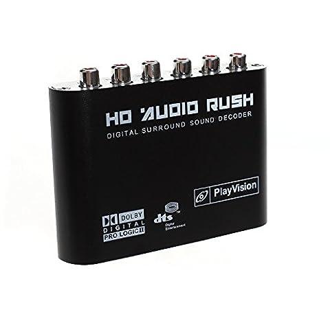 aoeyoo® 5.1Audio Rush son Décodeur Dolby AC3DTS–Convertisseur audio SPDIF optique/coaxial numérique à analogique audio 5.1ch (6RCA sortie)