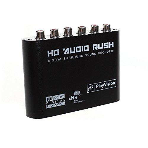 AoeYoo 5.1 Audio Konverter Digital Sound Decoder Binsen - optisches SPDIF/AC3 DTS Dolby koaxial zu 5,1 ch Analog Audio (6RCA Ausgang)