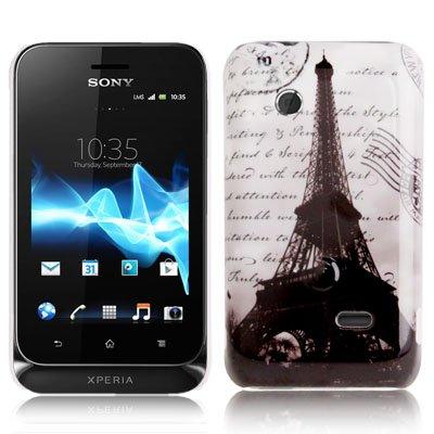 Rocina Hardcase Schutzhülle für Sony xperia Tipo Dual St21i Eiffelturm schwarz weiß