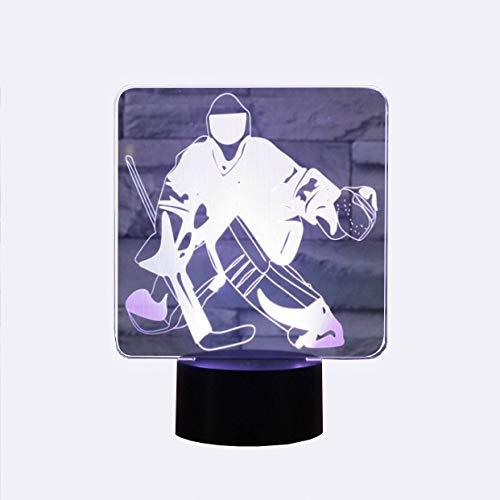 (YKMY Neuheit Eishockey Goalie 3D Illusion Lampen LED Nachtlichter USB 7 Farben Sensor Schreibtischlampe für Outdoor Sports Liebhaber Sammlung)