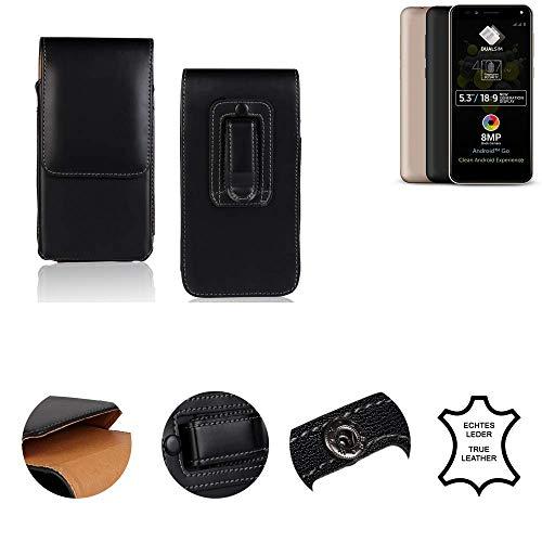 K-S-Trade® Gürtel Tasche Für Allview A9 Plus Handy Hülle Gürteltasche Schutzhülle Handy Tasche Schutz Hülle Handytasche Seitentasche Vertikaltasche Etui, Leder Schwarz, 1x