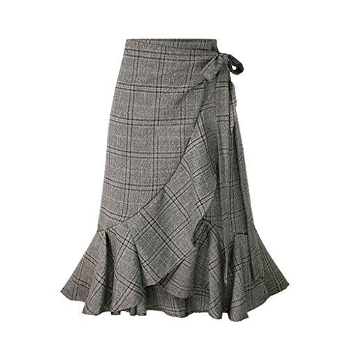 Kleider Sommer,Kleid Damen Elegant Frauen-Beiläufiger Plaidfischschwanzrock Hohe Elastische Taillen-Dame Maxi Long Plisseerock Von Evansamp(Grau,S) -