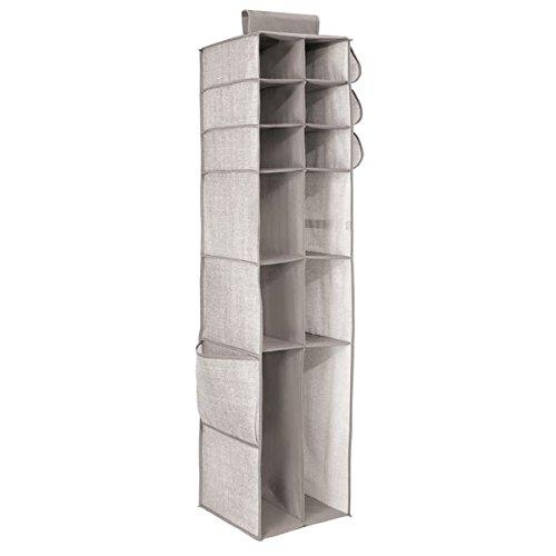InterDesign Aldo Organizzatore Tasca Chevron con 16 Mensole, Tessuto, Beige, 134.62x30x30 cm