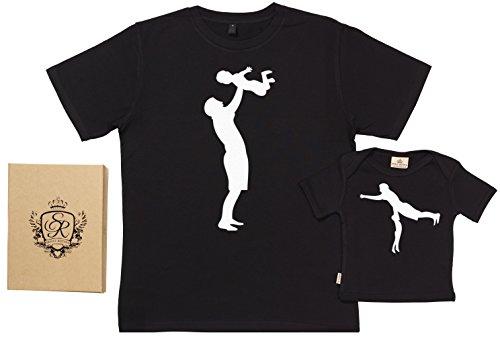 SR - Exklusive Geschenkbox - Dad & Son Carry 100% Biobaumwolle - Vater T-Shirt & Baby T-Shirt in Geschenkbox - M, 5-6 Jahre - Schwarz