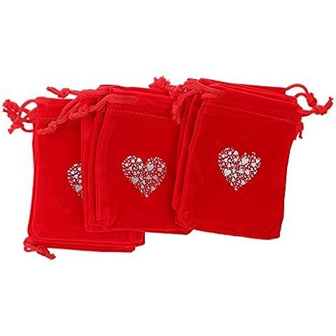 Generic 10pcs Bolsas de Regalo Bolsas de Tartas Boda Corazón Lazo Terciopelo Rojo Brillante