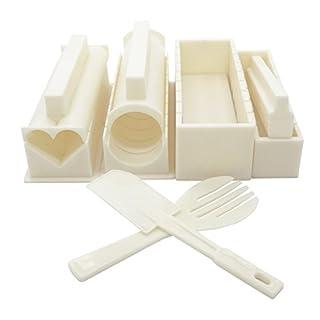 Exzact EX-SM10 Sushi Kit 10 teilig/Reis-Form - 5 Einzigartige Formen - Herz, Rund, Pyramide, Quadrat/DIY Japanische Küche zu Hause/Einfach und lustig - Creme Weiß