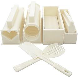 Exzact EX-SM10 Fare Kit per preparare Il Sushi 10 Pezzi/Stampo Riso - 5 uniche Forme per Stampo - Riso Rullo Muffa per la Cucina Fai da Te Facile da Usare/Cucina Giapponese Fai da Te a casa