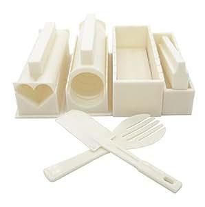 EXZACT EX-SM10 Fare Kit per preparare il Sushi 10 pezzi / Stampo Riso - 5 uniche forme per stampo - riso rullo muffa per la cucina fai da te Facile da usare/ Cucina giapponese fai da te a casa / Facile e divertente - Bianco Crema