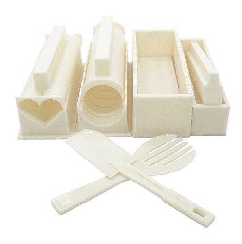 Exzact EX-SM10 Kit de Fabrication de Sushi 10 pièces/Moule à Riz- 5 Formes de moules Uniques - Cœur, Rond, Pyramide, Carré/Bricolage Cuisine Japonaise à la Maison/Facile et Amusant - Crème Blanc