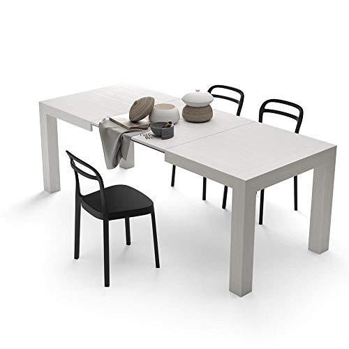 Mobili Fiver, Tavolo Cucina Allungabile fino a 220, Iacopo, Nobilitato, Colore Bianco Frassino, Chiuso 140 x 90 x 77