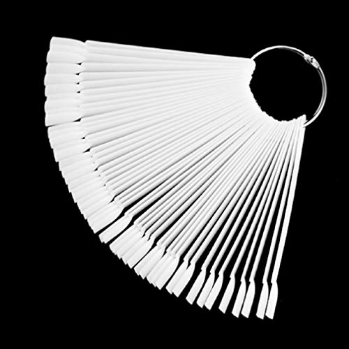 Preisvergleich Produktbild 50pcs Nail Art Tips Display Practice Fan Nail Color Polish Swatches Sample