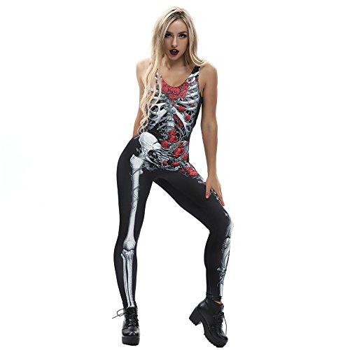 URVIP Damen-Skelett Knochen Punk Sexy Strampler Skelett Body Anzug Kostüm BEM-004 XL