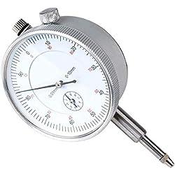 Comparateur 0-10mm Mesure Outil Portable Jauge Précision Travail Industriel Mètre Analogique Dialgauge 0.01mm Résolution (Argent)