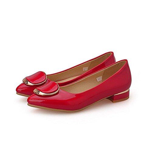AllhqFashion Damen Spitz Zehe Ziehen Auf Pu Leder Eingelegt Niedriger Absatz Pumps Schuhe Rot
