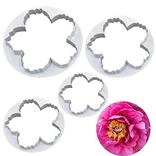 Fliyeong Premium 4 stücke Pfingstrose Blume Ausstecher Sugarcraft Fondant Cutter Kuchen Dekorieren Tool (Pfingstrose Blume Cutter)