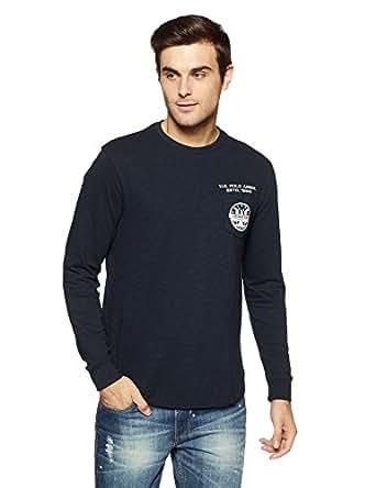 US Polo Men's Solid Regular Fit T-Shirt (UDTS0259_Navy_S FS)