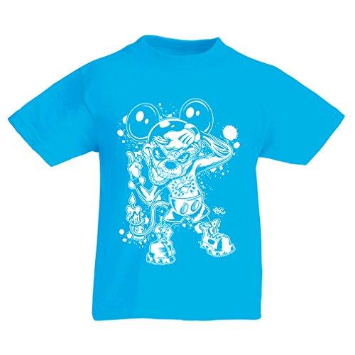 lepni.me Kinder Jungen/Mädchen T-Shirt Eine Maus mit Einem tollen Halloween-Party-Kostüm (14-15 Years Hellblau Mehrfarben)