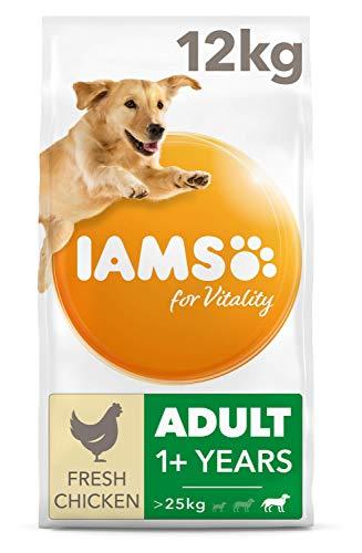Iams Dog Adult Large Breed Trockenfutter (mit Huhn, für erwachsene Hunde großer Rassen, enthält viel hochwertiges tierisches Protein), 12 kg Beutel