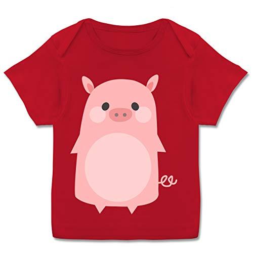 Babys Kostüm Schweinchen - Karneval und Fasching Baby - Fasching Kostüm Schweinchen - 80-86 (18 Monate) - Rot - E110B - Kurzarm Baby-Shirt für Jungen und Mädchen