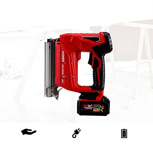 Electric Cordless Nail Gun Nailer Stapler 2 in 1 Staple Gun Powerful Heavy Duty Stapler Nailer Tacker Built Air Compression 20V Max Additional Battery (2 1 Zoll Staples)