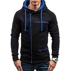KPILP Herren Mode Übergröße Herbst Beiläufig Solide Langarm-Shirt Kapuzenpullover Sweatshirt Oberbekleidung Sportbekleidung(Schwarz, M