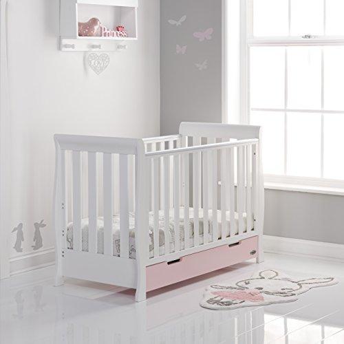Stamford Mini Sleigh Cot Bed - White with Eton Mess  Obaby Dropship