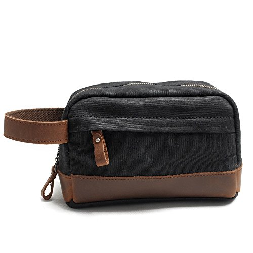 FT SM-B Wash Bag Canvas Kosmetiktasche Leder Business Travel Portable Anzug Tasche - Für Männer Und Frauen Für 4 Farben Größe 23x9.5x13cm (Farbe : Black)