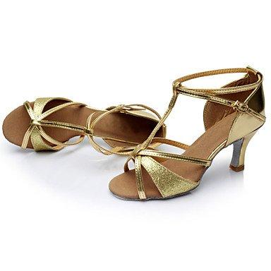 XIAMUO Anpassbare Damen Tanz Schuhe Satin/Paillette Satin/Paillette Latein Sandalen/Schuhe/Sneakers kubanischen HeelPractice/Beginner/ Braun