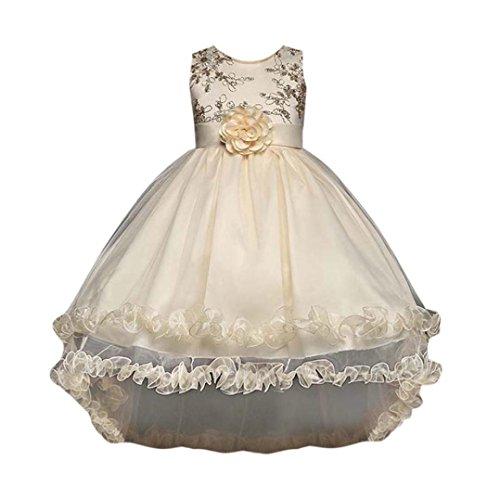 Kleid Sannysis Mädchen Prinzessin Kostüm Paillette Blume Hochzeit Bankett Party Kleid Kinder Party Pageant Hochzeit Brautjungfer Abendkleider (Khaki-Prinzessin, 150) (Blume Kostüm Für Frauen)