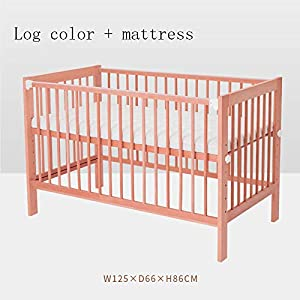 QINYUN Crib Splicing Bed Multi-functional Newborn Bed Solid Wood Baby Bed,D   9