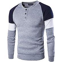 Sudaderas sin Capucha Hombre El botón para Blusa De Manga Larga Pullover Sweater