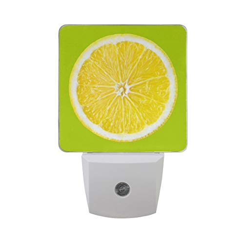 t of 2 Citrus Fruit Orange Lemon Lime Slice On Green Auto Sensor LED Dusk to Dawn Night Light Plug in Indoor for Adults ()