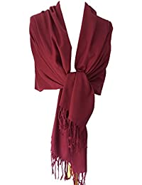 Purple Possum Burgundy Pashmina, Ladies Claret Wrap, Large Red Wine Coloured Wool Blend Shawl, Wedding Prom Wrap
