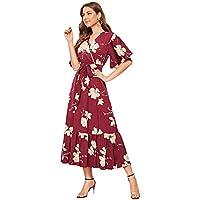 SheIn Women's Floral Print V Neck Half Sleeve Belted Ruffle Hem Boho Long Dress Burgundy XL
