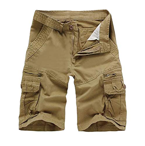 Herren Shorts - Omingkog, Herren Kurze Hose für Freizeit Einfarbiges Jogginghose Kurze Trainingshose Sporthose Slim Fit Multi-Pocket Tooling Hosen Badehose Badeshorts(Khaki2,31) -