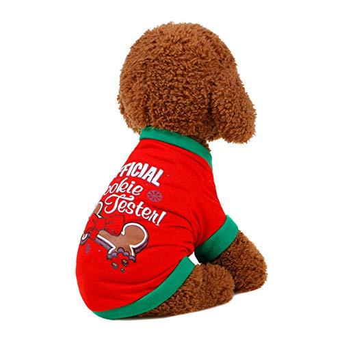 Kostüm Pet Ghostbusters - AMDXD Haustier Hundemantel Weihnachtswelpen Mantel Stoff Hund Weste Rot Bowknot Knochen Größe S
