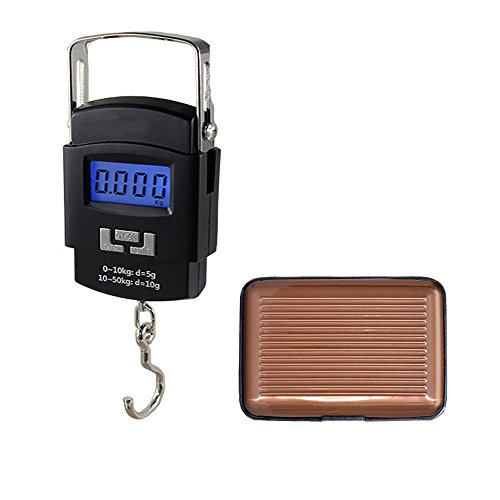 Tuelip Combo of Portable Hook Type Electronic Weighing Scale And Aluminium Covered Brown Credit Card Holder Wallet  available at amazon for Rs.299