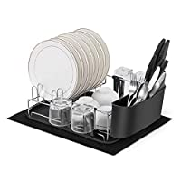 alvorog Anti-Rust Dish Drainer with Removable Drip Tray, Cutlery Holder and Cup Holder, Microfiber Dish Drying Mat, Draining Board, Ideal Dish Rack in Kitchen(One)
