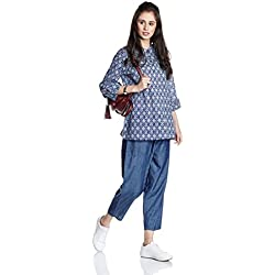 Myx Women's Straight Kurta (NIT001CORE11C_Navy_Medium)