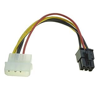 R03 6pin PCIe auf 4 Pin Molex Grafikkarte Stromkabel PCIe Stromadapter Kabel, 6pin PCI-E auf 5,25 Molex Stromanschlüsse Stecker, 6-pin PCI Express auf 4-Pin-Molex-Stecker (3 Pins angeschlossen), 15cm Kabellänge