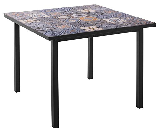 Lynton Garden Fancy Cubic Mosaic Dining Table – Concrete Top - Weather Resistant - Blue/Grey